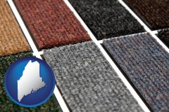 maine map icon and carpet samples