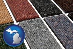 michigan map icon and carpet samples
