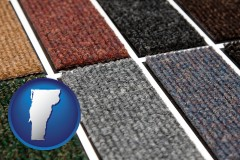 vermont map icon and carpet samples