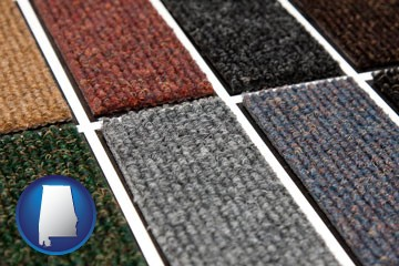 carpet samples - with Alabama icon