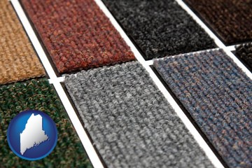 carpet samples - with Maine icon